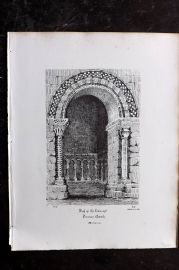 Anastatic Drawing Society 1858 Print. Arch of Transept, Penmon Church, Anglesey